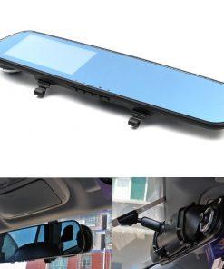 4.3 Inches High Definition LCD Car Blue Rear View Mirror DVR - Black