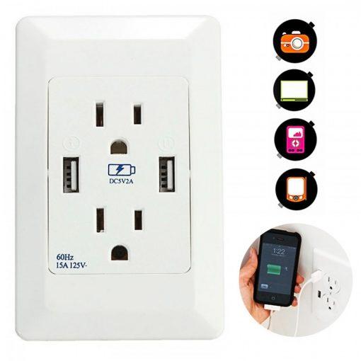 125v Dual USB Port Wall Charger Adaptor Socket