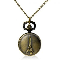 Eiffel Tower Design VIntage Pocket Watch With Necklace - Bronze