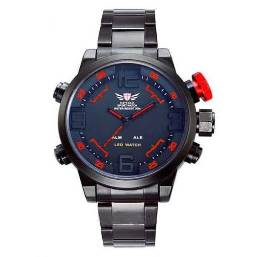 Epozz Stainless Steel Water Resistant Sports Watch - Red
