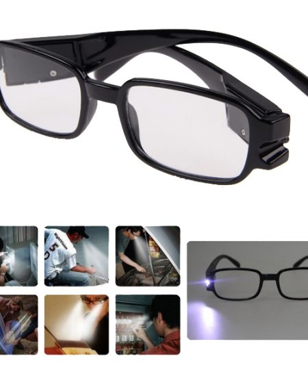 Eyeglasses With Rechargeable LED & UV Light - Black