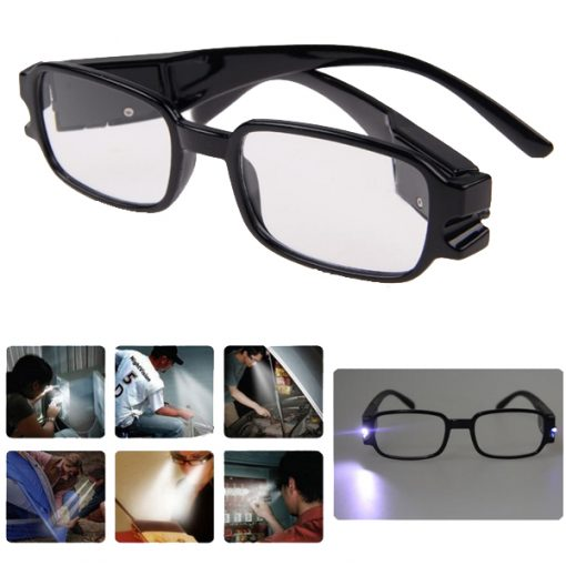 Eyeglasses With Rechargeable LED & UV Light - Black