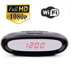 Full HD 1080P Table Clock  with Wifi Camera - Black