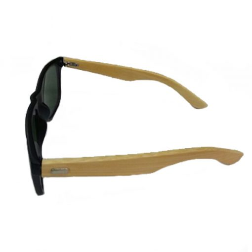 Bamboo Frame Green Shade Sunglasses - Brown