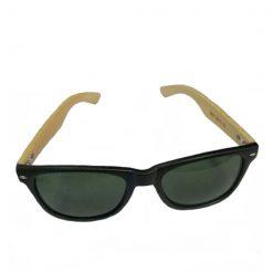 Bamboo Frame Green Shade Sunglasses - Brown