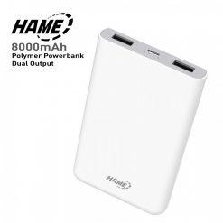 HAME X1P 8000 mAh Slim Lithium Polymer Powerbank With Dual Output - White
