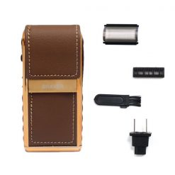 Rechargeable Flip Top Leather Shaver - Brown/Gold