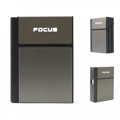 Focus Cigarette Case with Rechargeable Lighter - Black