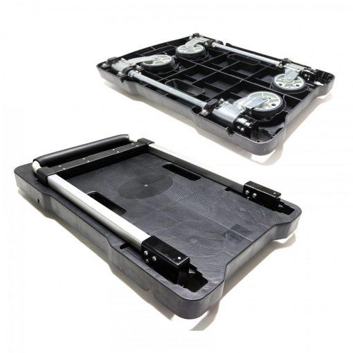 Heavy Duty Foldable Platform Moveable Push Hand Cart - Black