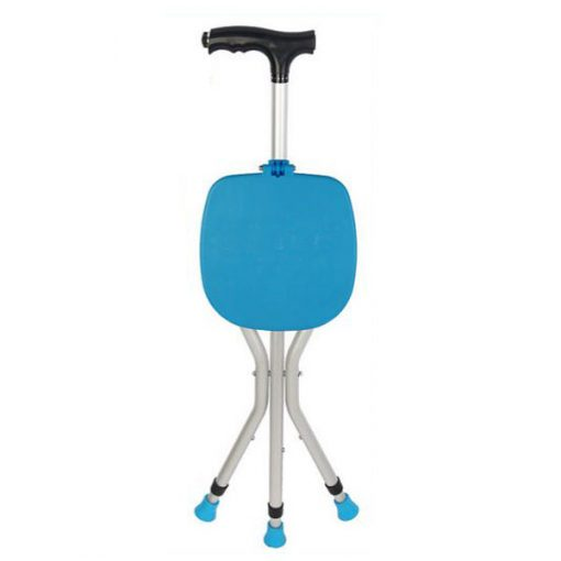 Foldable Walking Cane Chair with Flashlight - Blue