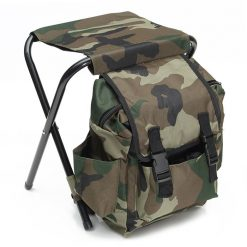 Backpack With Built In Foldable Stool - Camo Green