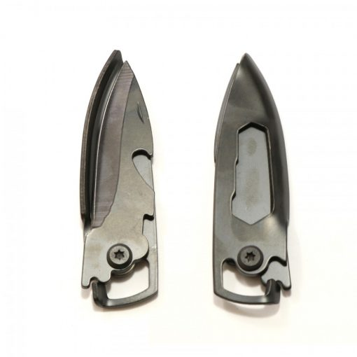 Portable Stainless Utility Knife Keychain - Black
