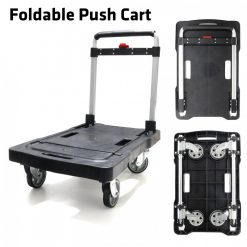 Heavy Duty Foldable Platform Moveable Push Hand Cart - Black