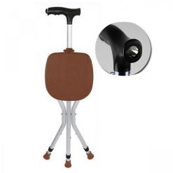 Foldable Walking Cane Chair with Flashlight - Brown