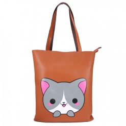 Fashionable Shoulder Bag with Kitty Accent – Brown