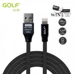 Golf GC-55 1 Meter Flat Fabric Braided Lightning Charger And Data Sync Cable - Black