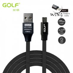 Golf GC-55 1 Meter Flat Fabric Braided Micro USB Charger And Data Sync Cable - Black