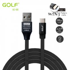Golf GC-55 1 Meter Flat Fabric Braided Type-C USB Charger And Data Sync Cable - Black