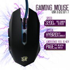 3200 DPI Ortho Pin Light Five Process Gaming Mouse - Black