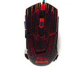 2400 DPI Adjustable Lighted Gaming Mouse - Black/Red
