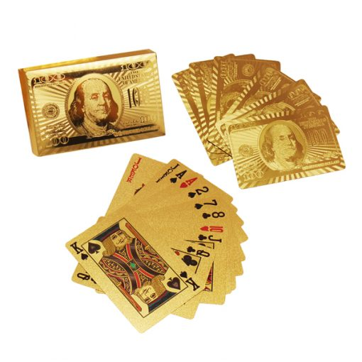 Gold Plated Poker Playing Card with Wood Box