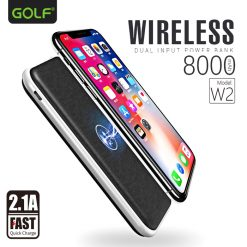 GOLF W2 8000 mah Wireless Dual Input Powerbank - Black