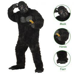 Gorilla Costume Full Fur Adult Size Bodysuit - Black