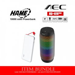 10000 mAh Slim Hame T6 Powerbank - White  and AEC BQ-615 Pro Multifunction Wireless Speaker - Black