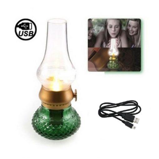 HAPTIME USB Rechargeable Blow Sensitive LED Lamp - Green