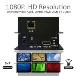 200 Meters HDMI Lan Extender with IR - Black