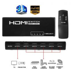 5 Port HDMI Switch With IR Remote - Black