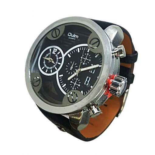Oulm HP3220 Round Quartz Dual Time Movement Leather Watch - Black
