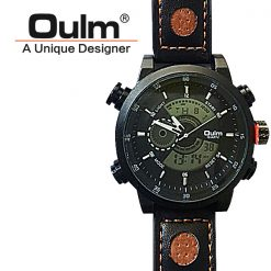 Oulm HP3558 Digital Quartz Double Movement Leather Watch - Black