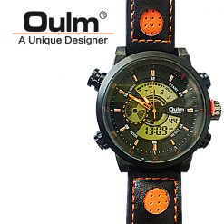 Oulm HP3558 Digital Quartz Double Movement Leather Watch - Orange