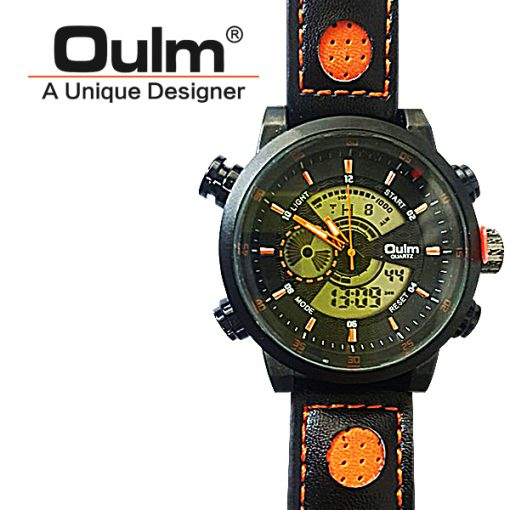 Oulm HP3558 Digital Quartz Double Movement Leather Watch - Orange