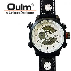 Oulm HP3558 Digital Quartz Double Movement Leather Watch - White