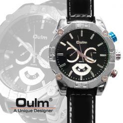 Oulm HP3694 Men's Quartz Dial Leather Band Watch - Black