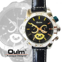 Oulm HP3694 Men's Quartz Dial Leather Band Watch - Gold