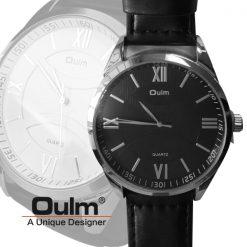 Oulm HP3697 Men's Quartz Round Dial Leather Watch - Black
