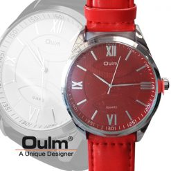 Oulm HP3697 Men's Quartz Round Dial Leather Watch - Red