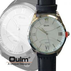 Oulm HP3697 Men's Quartz Round Dial Leather Watch - White