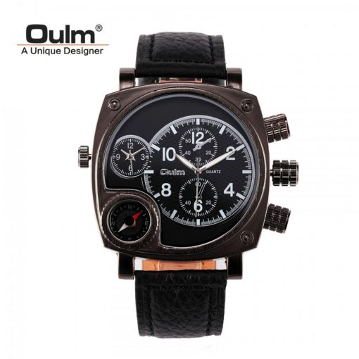 Oulm  Watch With Large Dial and Compass - Black