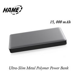 Hame P51L 15000 mAh QC3.0  Metal Finish Polymer Powerbank With Lighning Input - Gray
