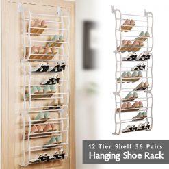 12 Tier 36 Pairs Door Hanging Shoe Rack - White