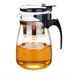 Heisou Washable Elegant Glass Teapot With Separate Steeping Cup - Black
