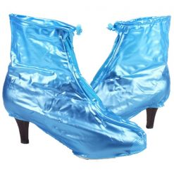 Plastic Zip Up Hi Heels Shoe Cover For Women - Blue