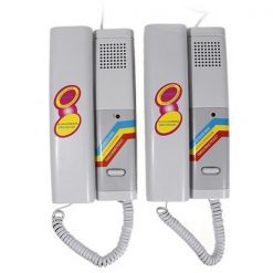 High Quality 2 PCS Battery Powered Two-Way Wired Interphone Set – White