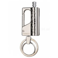 HONEST Stylish Kerosene Metal Lighter Waterproof Outdoor Flint with Keychain - Silver