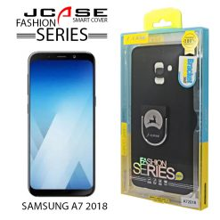 J-case 360 Samsung A7 2018 Fashion Series Smart Cover with Ring Holder - Black