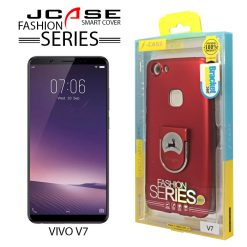 J-Case 360 Vivo V7 Fashion Series Smart Cover with Ring Holder - Red